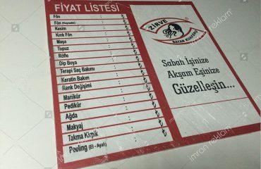 Fiyat Listesi Tabelası